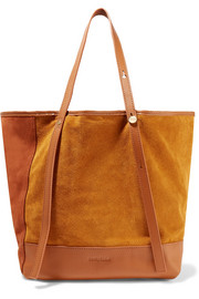 Andy leather-trimmed two-tone suede tote