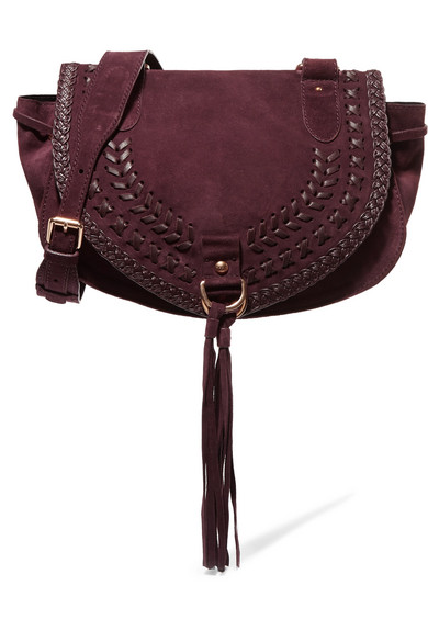 See by Chloé - Collins Medium Suede And Textured-leather Shoulder Bag - Plum