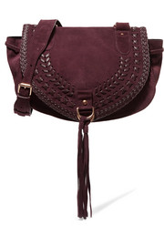 Collins medium suede and textured-leather shoulder bag