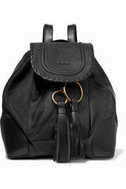 Polly tasseled whipstitched textured-leather backpack