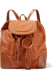 Polly tasseled textured-leather backpack