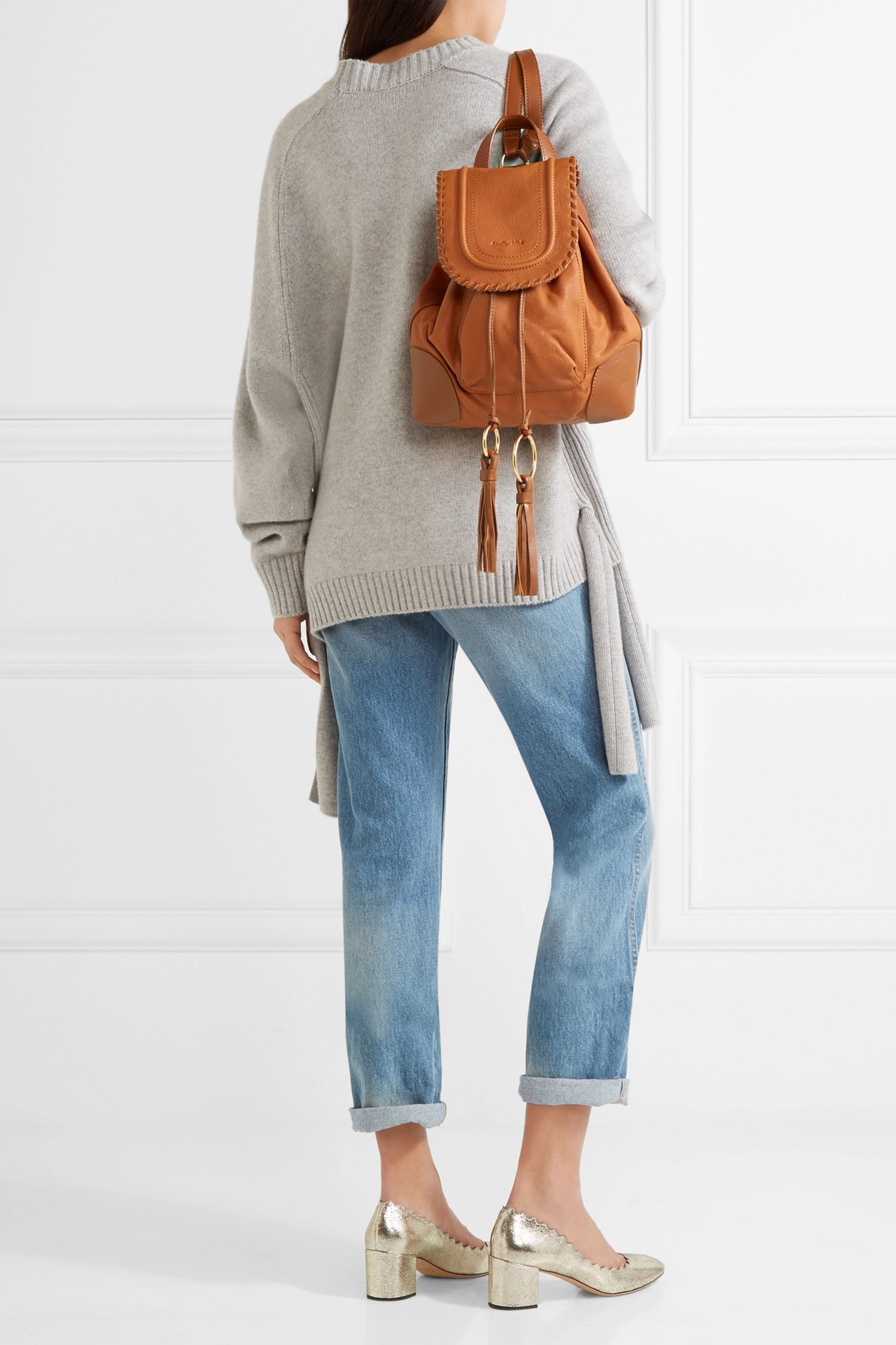 See By Chloé Polly tasseled textured-leather backpack