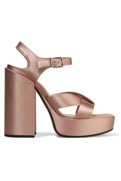 jil sander female jil sander satin platform sandals antique rose