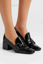 Jil Sander Buckled patent-leather loafers