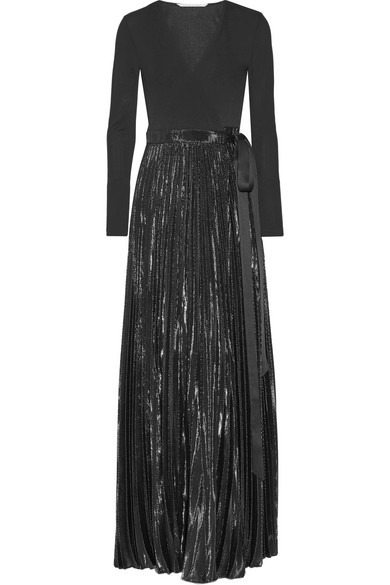 Diane von Furstenberg - Heavyn Pleated Metallic Stretch-crepe Wrap Maxi Dress - Black
