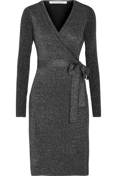 Diane von Furstenberg - Evelyn Metallic Merino Wool-blend Wrap Dress - Midnight blue