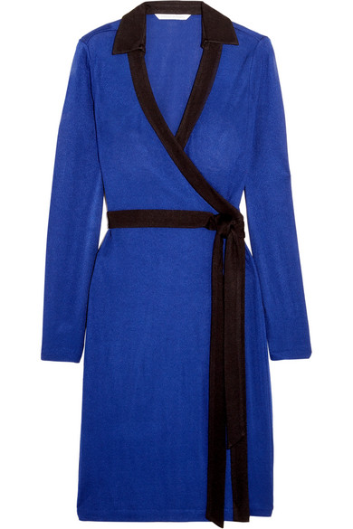 Diane von Furstenberg - Jeannae Two-tone Stretch-knit Wrap Dress - Cobalt blue
