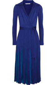 Stevie pleated satin-jersey and georgette wrap dress