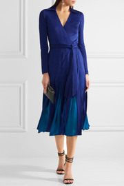 Diane von Furstenberg Stevie pleated satin-jersey and georgette wrap dress