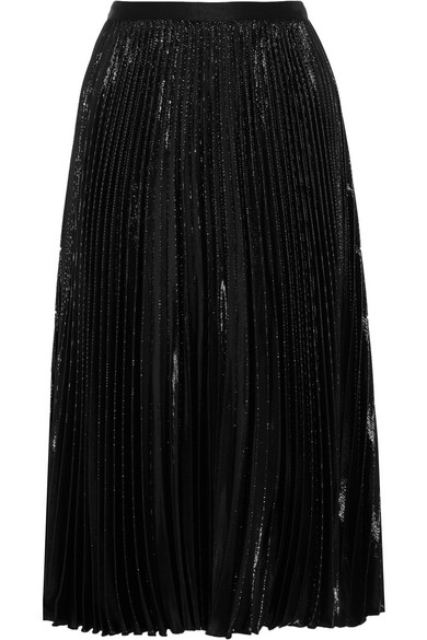 Diane von Furstenberg - Heavyn Pleated Metallic Crepe Skirt - Black
