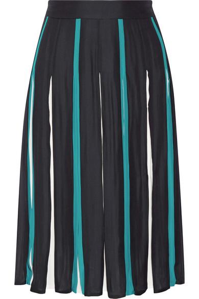 Diane von Furstenberg - Melita Pleated Silk-blend Skirt - Midnight blue