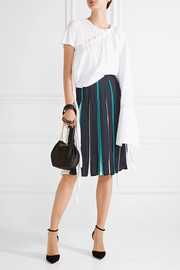 Melita pleated silk-blend skirt