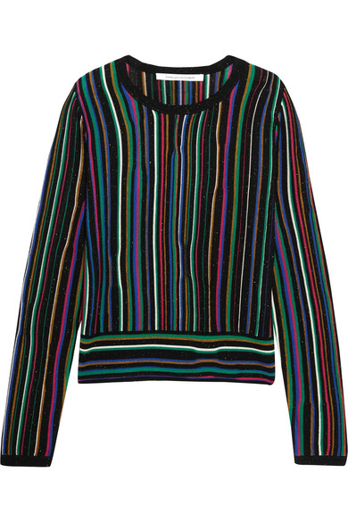Diane von Furstenberg - Arisha Striped Knitted Sweater - Black