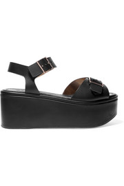 Feitv leather platform sandals