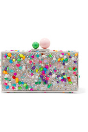 Clara embellished acrylic box clutch