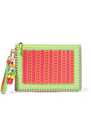 Flossy woven PVC and leather pouch
