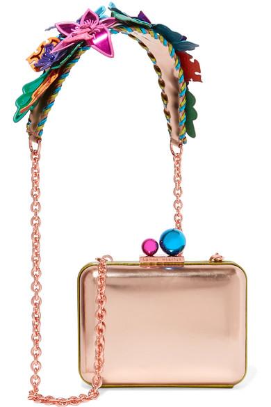 sophia webster female sophia webster vivi hula metallic leather shoulder bag pink