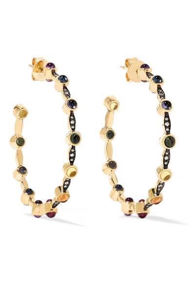 Noor Fares - Mandorla Creole 18-karat Gold Multi-stone Hoop Earrings