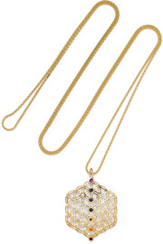 Noor Fares Chakra Amulet 18-karat gold multi-stone necklace
