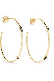 Mandorla 18-karat gold, sapphire and diamond earrings