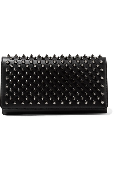 christian louboutin female christian louboutin macaron spiked leather wallet black