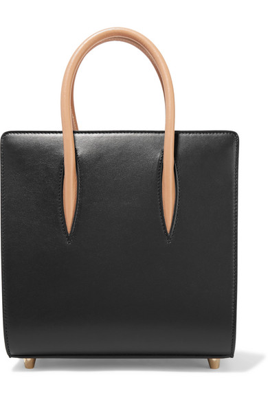 Christian Louboutin - Paloma Small Studded Matte And Patent-leather Tote - Black