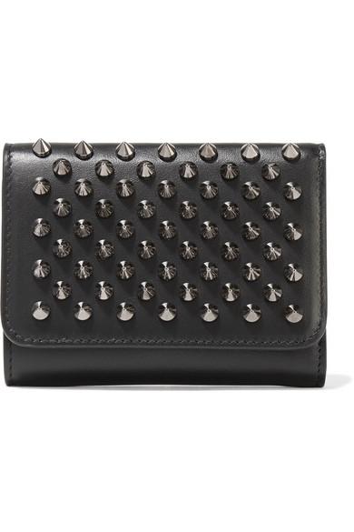 christian louboutin female christian louboutin macaron mini spiked leather wallet black