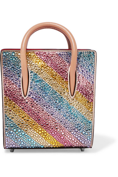 christian louboutin female christian louboutin paloma nano embellished metallic texturedleather tote pink