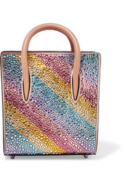 Christian Louboutin Paloma nano embellished metallic textured-leather tote