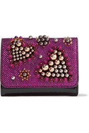 Christian Louboutin Macaron mini embellished metallic raffia and patent-leather wallet