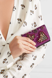 Macaron mini embellished metallic raffia and patent-leather wallet