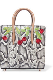 Christian Louboutin Paloma small embellished elaphe and metallic textured-leather tote
