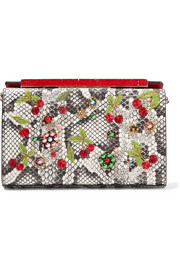 Vanité small embellished watersnake clutch
