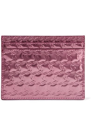 christian louboutin female christian louboutin kios embossed metallic leather cardholder pink
