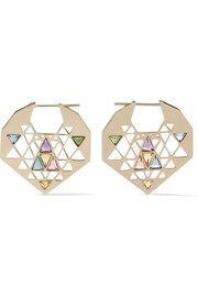 Noor Fares Chandbali 18-karat gray gold multi-stone earrings