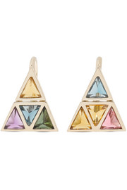 Noor Fares Kali 18-karat gold multi-stone earrings