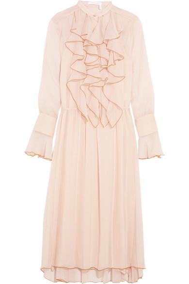See by Chloé - Ruffled Crinkled-chiffon Midi Dress - Pink