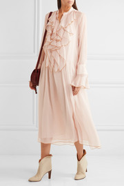 See by Chloé Ruffled crinkled-chiffon midi dress