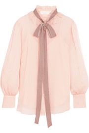 See by Chloé Velvet-trimmed pussy-bow ruffled crepon blouse