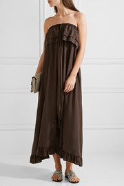 See by Chloé Off-the-shoulder ruffle-trimmed silk dress