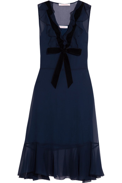 See by Chloé - Velvet-trimmed Ruffled Chiffon Dress - Navy