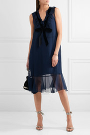 See by Chloé Velvet-trimmed ruffled chiffon dress