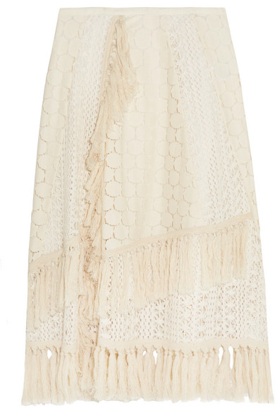 See by Chloé - Tasseled Crocheted Lace Skirt - Off-white
