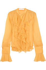 Ruffled crepon blouse