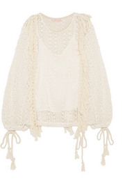 Tasseled macramé top