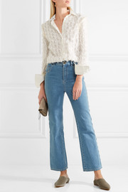 See by Chloé Crochet-paneled fil coupé cotton shirt