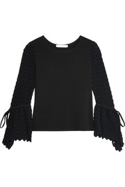 See by Chloé Crepe and crochet-knit top