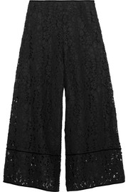 See by Chloé Velvet-trimmed corded lace culottes