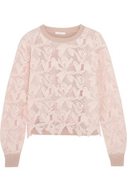 Guipure lace and knitted cotton sweater