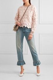 See by Chloé Guipure lace and knitted cotton sweater